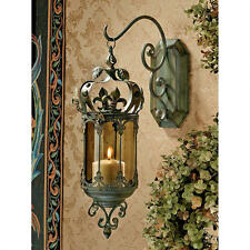 French Fleur De Lis Hanging Metal Scrollwork Wall Pendant Lantern Candle Holder