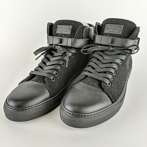 BUSCEMI Ronnie Fieg 110MM Black Fabric & Leather High Top Sneakers Size 45