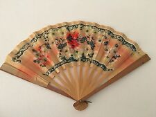 Antique Vintage Japanese Wood & Paper Hand Held Fan Floral Design