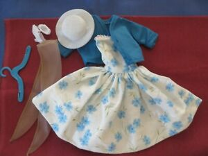 Vintage Barbie Clothes Blue Floral Dress, Jacket, Hat, Shoes, Stockings Hanger