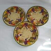 """Linens N Things Tabletops Fall Autumn Leaves w/ Grapes 8""""  Salad Plates"""