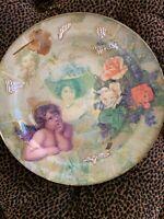 Vintage Victorian Scrap Decoupage Plate Gibson Girl Cherub Cabbage Roses