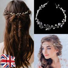 45CM Wedding Hair Vine Bridal Crystl Pearl Headbands Vintage Hair Accessories UK
