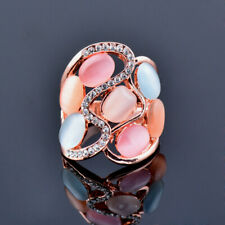 Rings Women Fashion Rose Gold Plated Hollow Big Multicolor Opal Cubic Zirconia