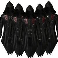Mens Praty Tailcoat Jacket Gothic Steampunk Uniform Vintage Hoodie Outwear Coat