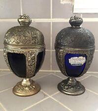 2 VNTG Progress Art Nouveau Cast Metal Cobalt Blue Glass Chalice Compote w Label