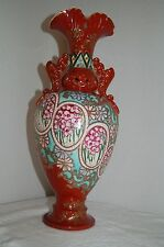 """Antique Chinese Oriental Moriage Vase/Urn 19"""" Tall With Handles Stunning"""