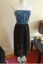 Ladies size 8 Denim & Black Chiffon Mid-Calf Tube Summer Dress