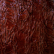 "Patent BROWN Crinkled Italian Lambskin Leather Scrap 9.5""x17"" avg .9mm thick"