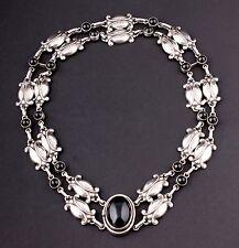 Georg Jensen de Ley Dos Filas Collar #15 , negro agate. diseño: GJ Himself
