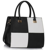 Womens Ladies Designer Checkered Leather Satchel Handbag Grab Tote Shoulder Bag