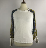 Umgee Boho Top Size M Ivory Multicolor Floral Raglan Puff Sleeve Peasant