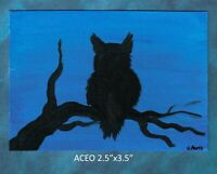 Original ACEO - Owl - miniature acrylic painting, not framed