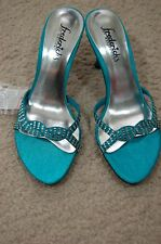 Fredericks of Hollywood Teal Sz 6M Sparkle Mule Pumps Satin Finish NWT