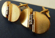 Vintage Retro Gold Gilt & Diamond Spain Cufflinks Box & Gift Bag