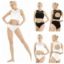 Women Sport Pole Dance Gym Wear Set Lace Top + Shorts Pants Exercise Activewear