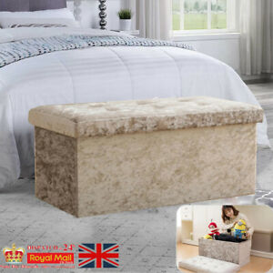 Ottoman Bench Large 2 Seat Foldable Double Bed Storage Box Foot Stool Furniture