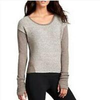 Athleta Brindle Mixed Knit Long Sleeve Brown Wool Sweater Size Medium