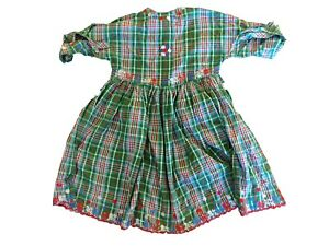 New Oilily Vintage Kids Girls Embroidered Plaid Cotton Dress Size 104 US 4-5