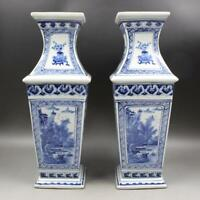 CHINESE OLD MARKED BLUE AND WHITE FIGURE STORY LANDSCAPE PATTERN PORCELAIN VASES