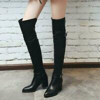 Women's Knight Shoes Over Knee Thigh Boots Pointed Toe High Heel Size EUR 34-48