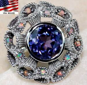 4CT Color Changing Alexandrite 925 Solid Sterling Silver Filigree Ring Sz 8, FO1