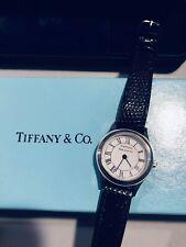 Authentic Vintage Women's Tiffany & Co. Lizard Black Silver Watch Like New W/box
