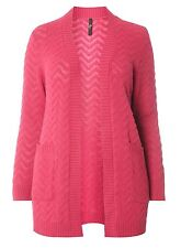 Evans Pink Zig Zag Fluffy Cardigan Size UK 22/24 Pink DH077 GG 07