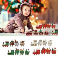 Christmas Wooden Train Festive Ornament Santa Claus DecorS Xmas Snowman W7M9
