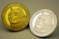 DOGE 1 Dogecoin Cryptocurrency Gold & Silver Plated Coin | BITCOIN (Set of 2)