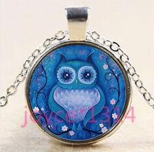 Vintage OWL Cabochon Tibetan silver Glass Chain Pendant Necklace #4431