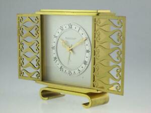 Vintage 20th Century Jaeger Lecoultre Brass  Clock Circa 1970 Swiss