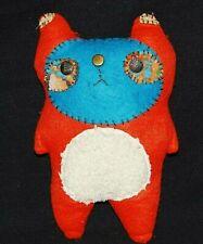"9.5"" Primitive Handmade Ugly Rag Cat Doll OOAK Felt Button Eyes Plush Figure"
