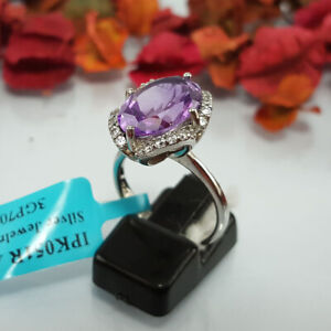 Unheated Natural Amethyst Women Ring 925 Silver Purple Real Gemstone White Gold