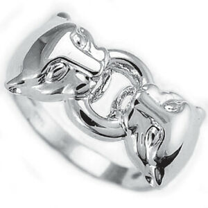 14k White Gold Dual Cat Head Ring For Man or Woman # R458