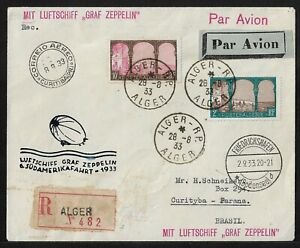 ZEPPELIN ALGERIA TO BRAZIL AIR MAIL COVER 1933 SCARCE