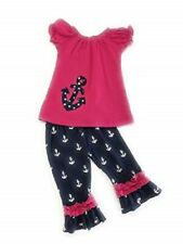 Toddler Girl Pink Nautical Anchor Polka Dot Boutique Short Outfit Kids Clothing