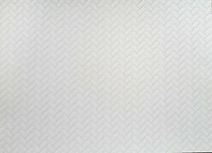 Dollhouse Miniature Subway Tile Herringbone White Embossed Card 1:12 Light Grout