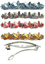 Set of 4 Crystal Flower Barrettes Hair Clips 4 Colors YY86750-3-4 @ $15.99