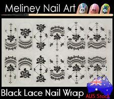 TZ080 Black Lace Nail Art Wraps Full Cover Stickers Flower Floral Transparent