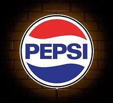 PEPSI COLA BADGE SIGN LED LIGHT BOX MAN CAVE COFFEE DRINK GAMES ROOM BOYS GIFT