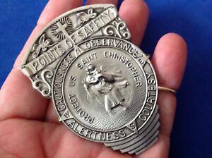 St Christopher VISOR CLIP POINTS OF SAFETY Protection Saint Pewter Medal