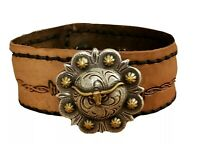 Western Cowgirl Silver Gold Leather Cuff Bracelet Longhorn Steer Unique Jewelry