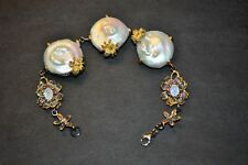 Sterling Bracelet w/ Gold Wash - Baroque Pearls - Moonstones - Gems & Spiders