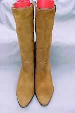 "ACME Women's Size 9 C Dark Tan Suede Leather 15"" Western Cowgirl Fashion Boots"