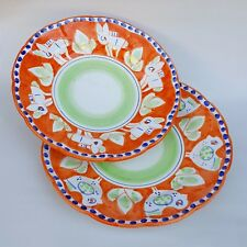Pareja de Platos de cerámica Vietri 2 piezas 100% decorado a mano Naranja