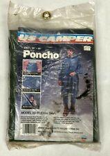 "Vintage NOS Vinyl Poncho US Camper Heavy Gauge 50"" X 80"" Olive Snaps Hood Rain"