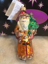 New Christopher Radko Glass Blown Ornament Christmas Santa Tree Nwt