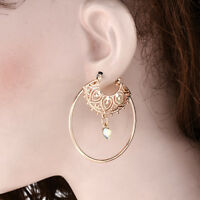Fashion Ethnic Spiral Brass Gypsy Earrings Tribal Festival Indian Hoops Jewelry