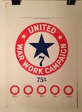 Original WWI United War Work Campaign Corporate Funding Level Poster WW1